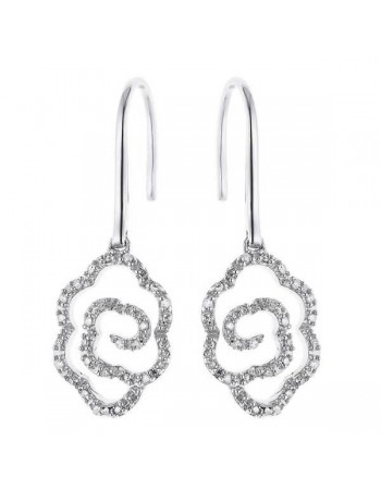 Flower shape diamond earrings in 9 K gold