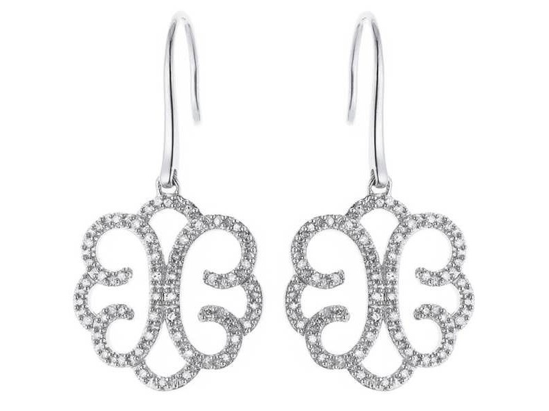 Filigree shape diamond earrings in silver 925/1000