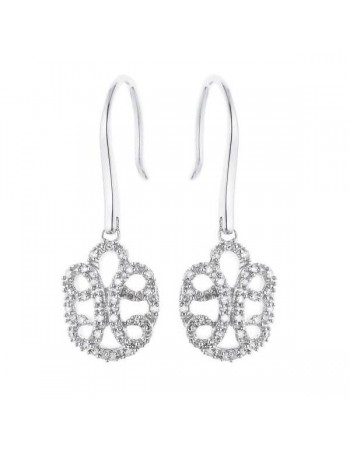 Filigree shape diamond earrings in silver