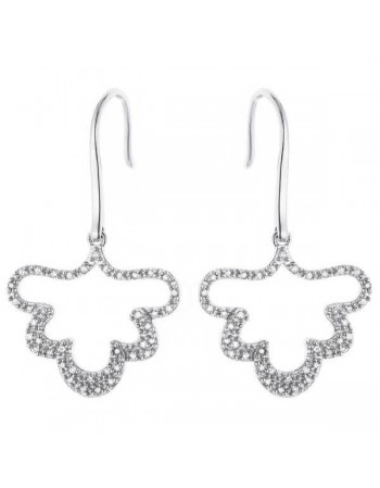 Leaf shape diamond earrings in silver