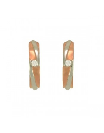 Boucles d'oreilles bicolore avec diamants en or rose