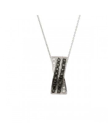 Black and white diamonds necklace in silver 925/1000