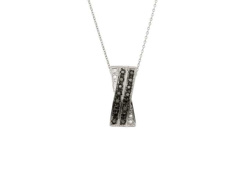 Black and white diamonds necklace in silver