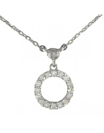 Collier rond pavé diamanté en or blanc