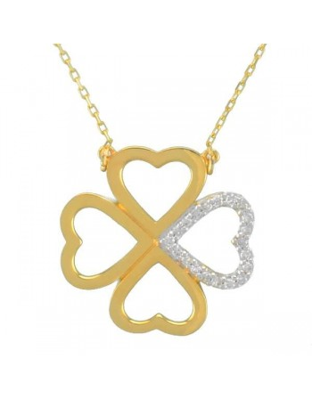 Pave set diamond clover necklet in 18 K gold