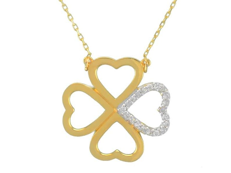 Collier trèfle diamanté en or jaune