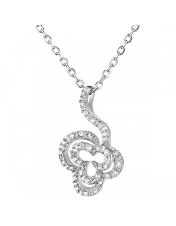 Flower shape diamond necklace in 9 K gold