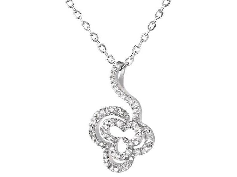 Collier forme fleur avec diamants en or blanc