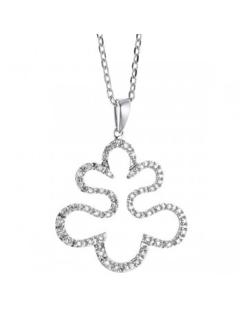Collier forme feuille avec diamants en or blanc