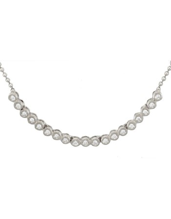 Bezel-set diamonds neckalce in 18 K gold