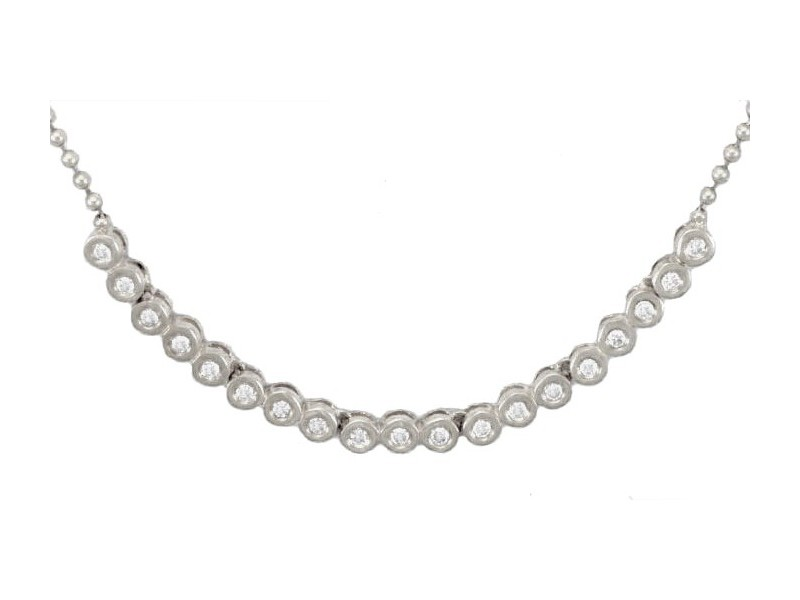 Collier tennis pneus diamants en or blanc