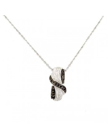 Collier ruban diamants noirs en argent