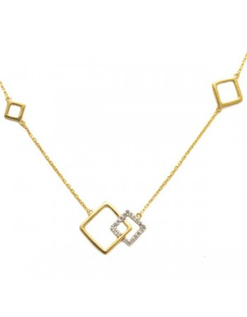 Square shape pave set diamond necklace in 9 K gold