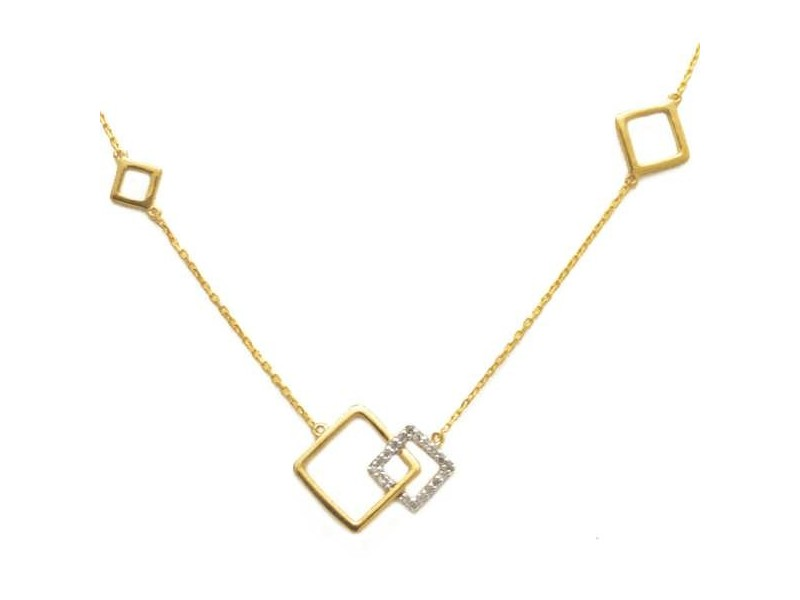 Collier motif carré diamants en or jaune