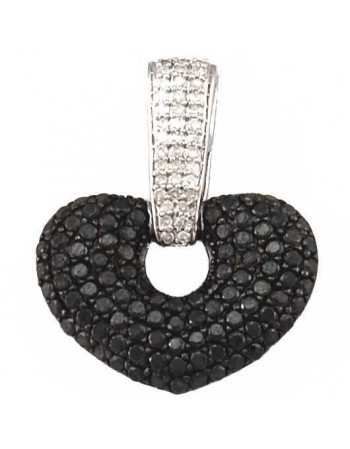 Beautiful all pave set black and white diamond heart pendant in silver