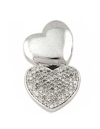 Two hearts pave set pendant in silver 925/1000