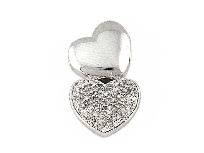 Two hearts pave set pendant in silver
