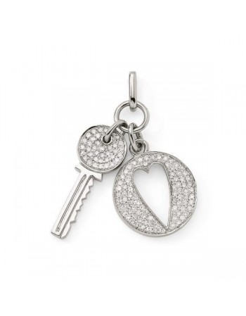 Key and padlock pave set diamond pendant in 18 K gold