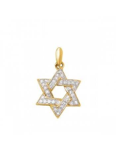 Pendentif étoile pavée diamants en or jaune