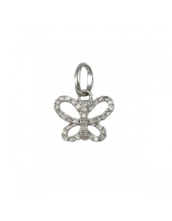 Butterfly pave set diamond pendant in silver 925/1000