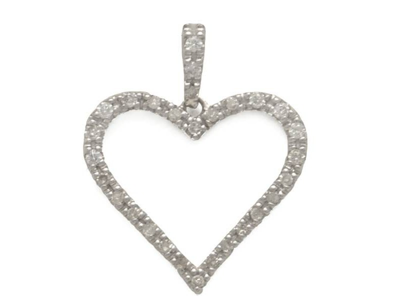 Open heart pave set diamond pendant in 18 K gold