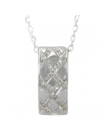 Interlacing pave set diamond pendant in silver