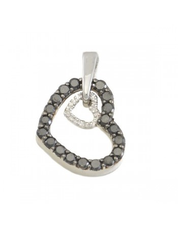 Heart shape diamonds pendant in silver