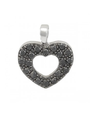 Black diamonds heart shape diamonds pendant in silver