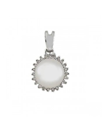 Freshwater pearl pendant with diamonds in silver 925/1000