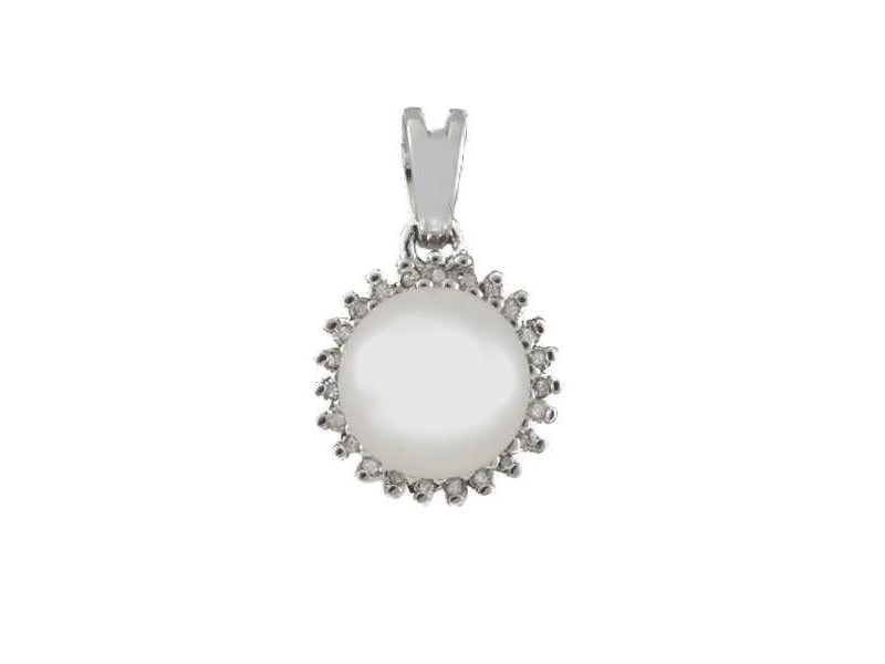 Freshwater pearl pendant with diamonds in silver