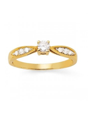 Diamond sides solitaire ring in 18 K gold