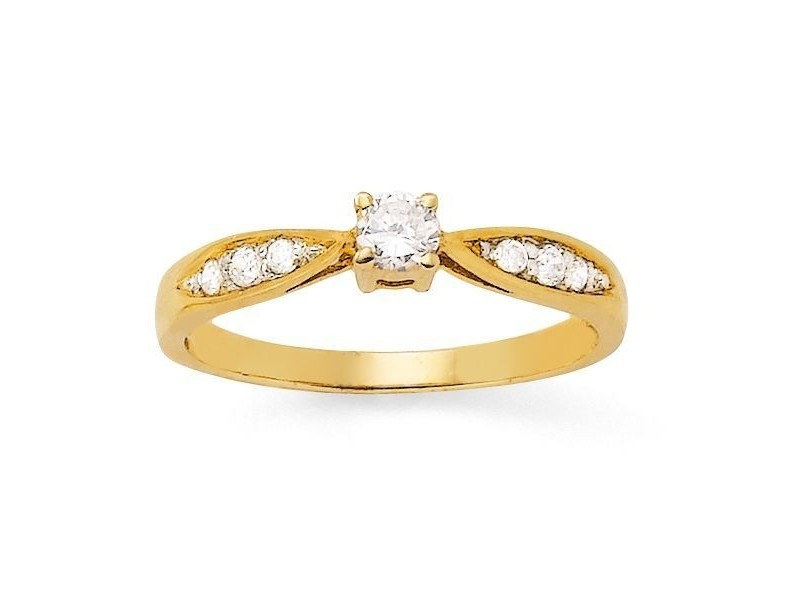 bague solitaire diamant or jaune 18 carats