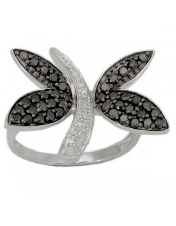 Butterfly ring with black diamonds in silver