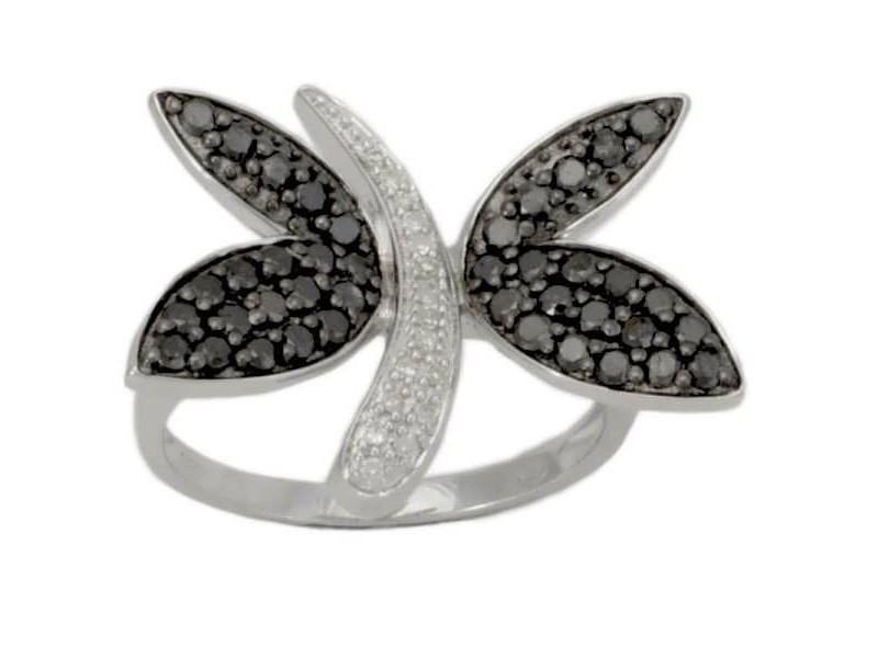 Butterfly ring with black diamonds in silver 925/1000