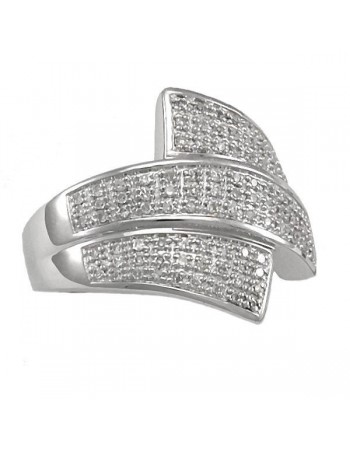Pave set diamond ring in silver