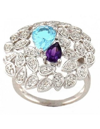 Topaze bleu and pave set diamond ring in silver 925/1000