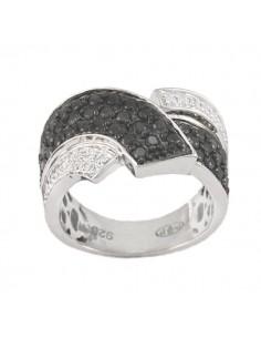 Bague pavée diamants noirs et blancs en argent
