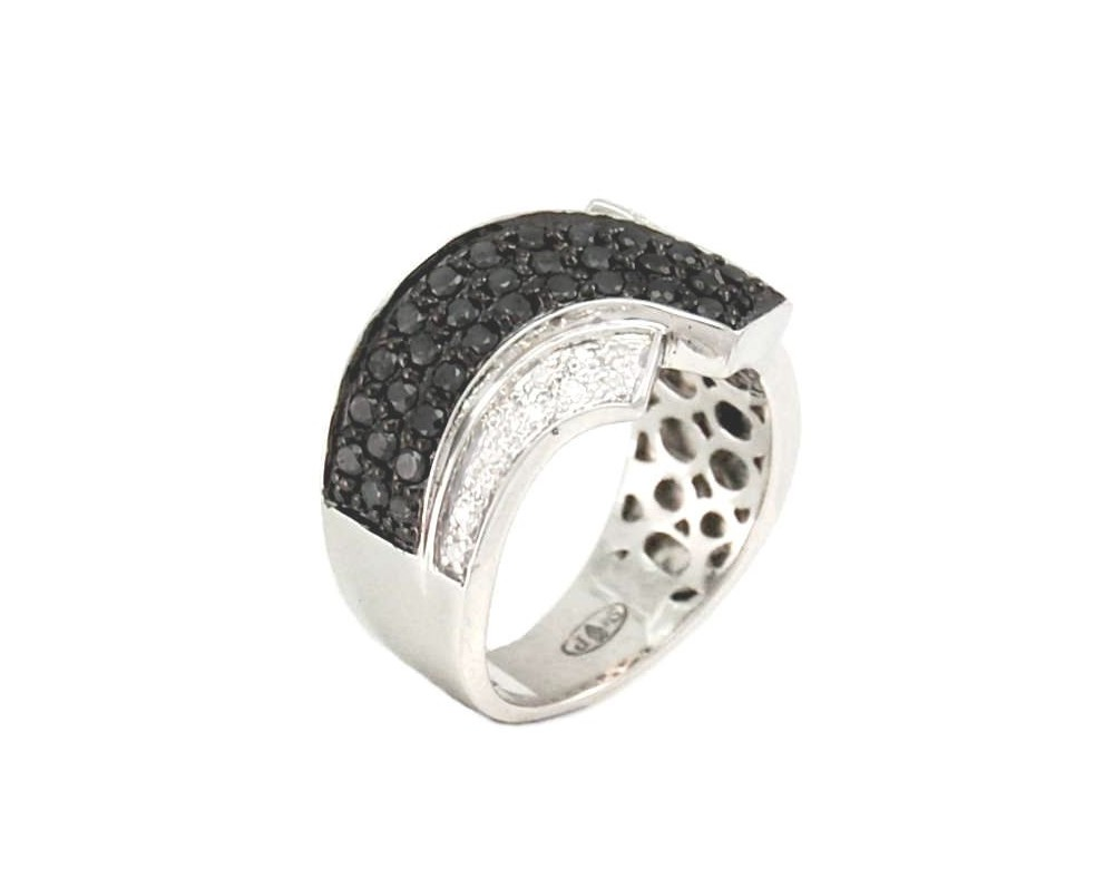 silver and diamonds engagement ring black and white