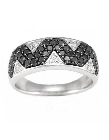 Geomotrical paves set ring black and white diamonds in silver 925/1000