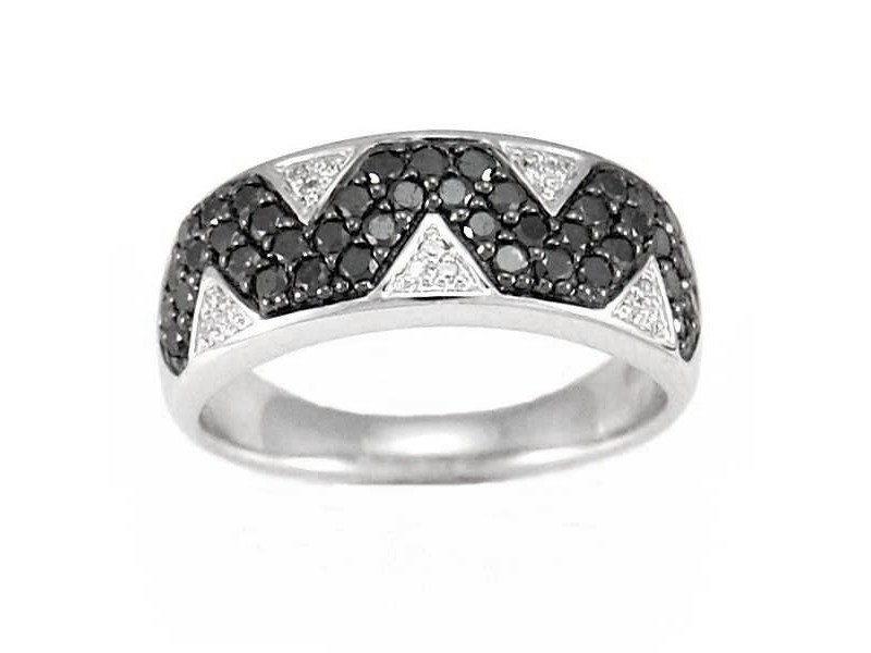 Geomotrical paves set ring black and white diamonds in silver