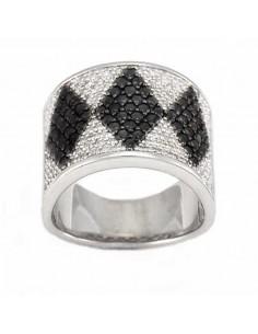 Bague losanges en diamants noirs et blancs en argent