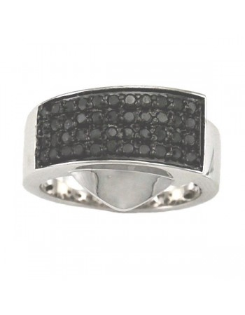 Pave set black diamond ring in silver