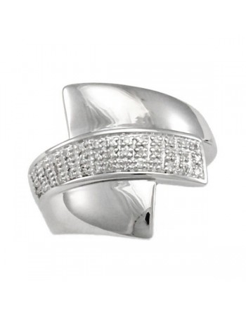 Pave set diamond ring in silver 925/1000