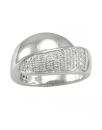 Crossover pave set ring with diamonds in silver 925/1000