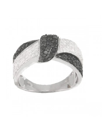 Crossover pave set ring with diamonds in silver