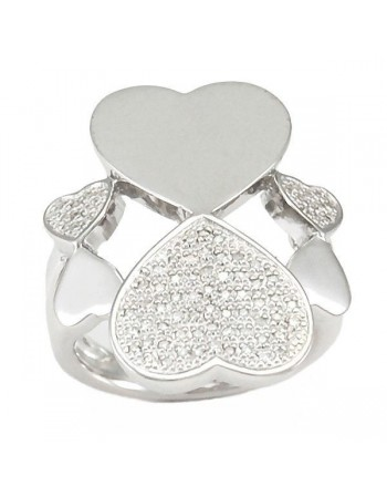 Hearts shape pave set diamonds rings in silver