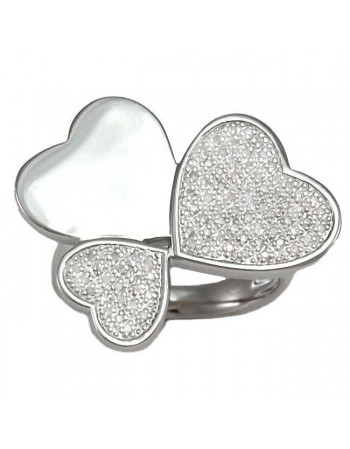 Hearts shape pave set diamonds rings in silver 925/1000