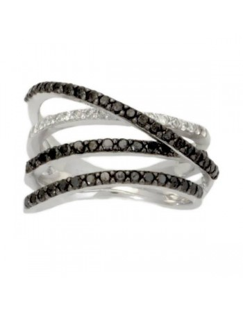 Large black and white diamonds ring in silver 925/1000