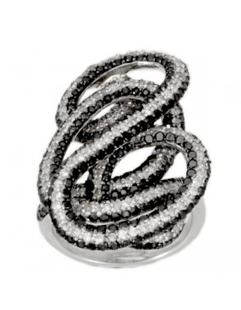 Luxurious whirlwind pave set black and white diamonds ring in silver