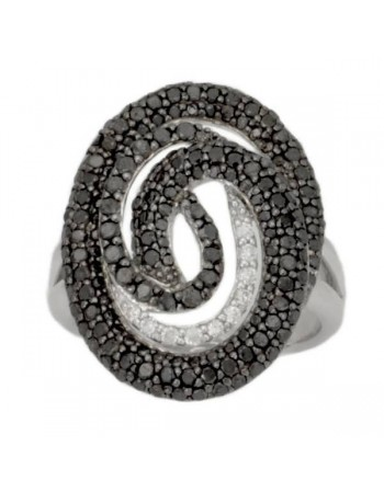 Pave set black and white diamonds spiral ring in silver 925/1000
